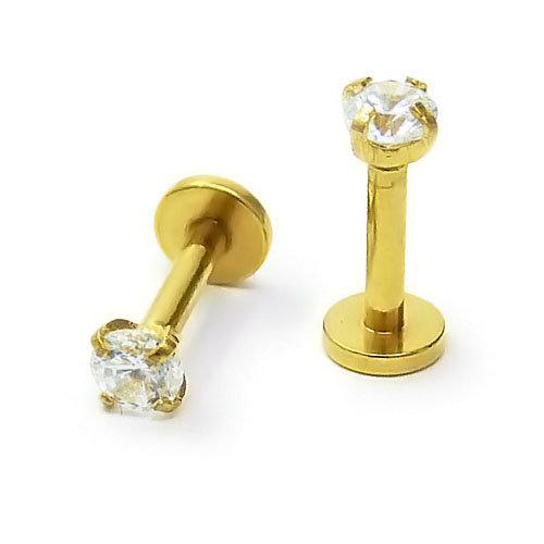 Золотые серьги для пирсинга губ