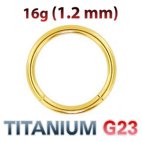 Кольцо сегментное для пирсинга 1,2 мм титан золотое анодирование