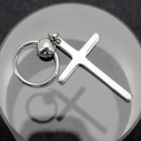 Кольцо 1,2 мм. Шарик с подвеской Крест. RSC0242