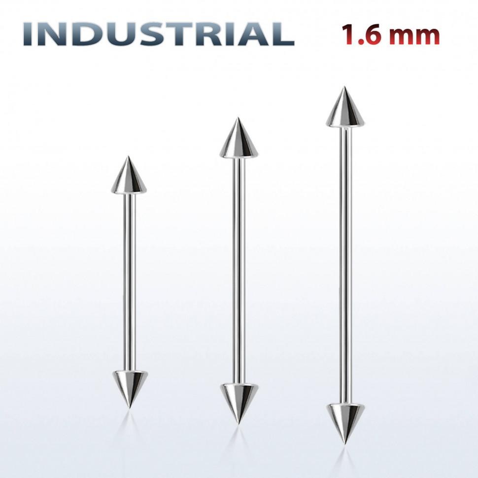 Штанга индастриал 1,6 мм. Конусы. BBINDCN купить в интернет-магазине Пирсингмаркет