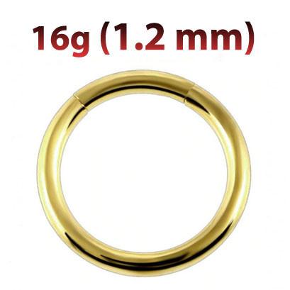 Кольцо сегментное для пирсинга 1,2 мм золотое анодирование