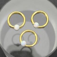 Кольцо 1,2 мм. Золотое анодирование, шарик из опала. BCROA16
