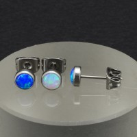 Серьга-гвоздик. Титан, опалы. HPN0307