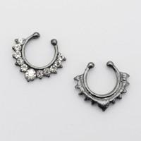 Клипса для имитации пирсинга носа, черный никель. SEPR0382