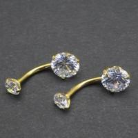Интернал украшение для пирсинга пупка с золотым анодирование. Круглый циркон. IBNZA0655